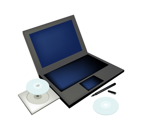 portable rom: Office Supplies, Laptop Computer with Compact Disc and Pen Isolated on White Background.
