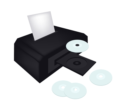 Computer and Technology, Automated CD and DVD Printers with Printable Compact Disc Isolated on White Background.