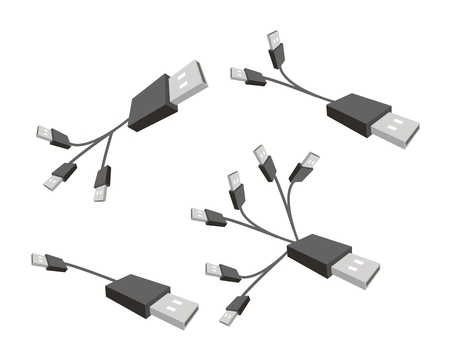 serial: Computer and Technology, Illustration of Computer Cable or Computer Connectors, Black USB Plugs or Universal Serial Bus Cable.