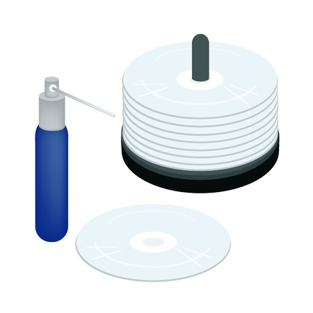 bluray: Computer and Technology, CD or DVD Compact Disc with Cleaning Liquid or Cleaning Solution Isolated on White Background.