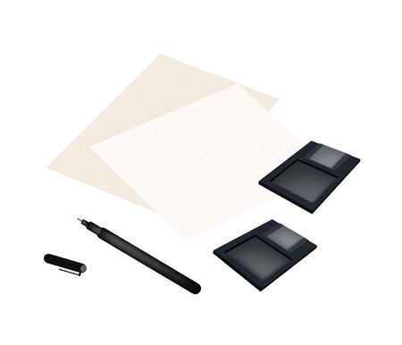 Computer and Technology, Floppy Disk or Diskette and Pen Lying on Blank Paper Isolated on White Background.