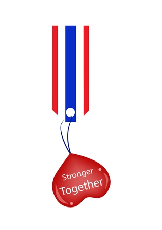 stronger: Red Heart with Word Stronger Together Holding on A Red, White and Blue Stripe Tag.