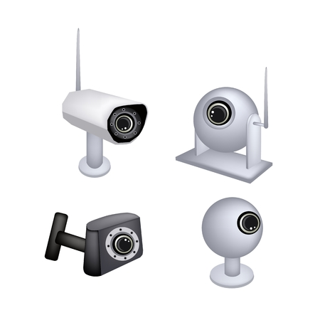 cctv security: Illustration Collection of CCTV Security Camera or Surveillance Camera Used for The Purpose of Observing An Area.