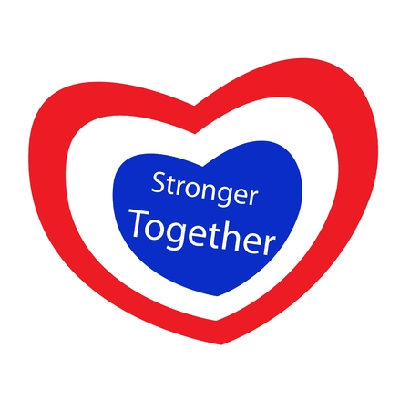 stronger: Stripe Label  of Red, White and Blue Heart with Word Stronger Together. Illustration