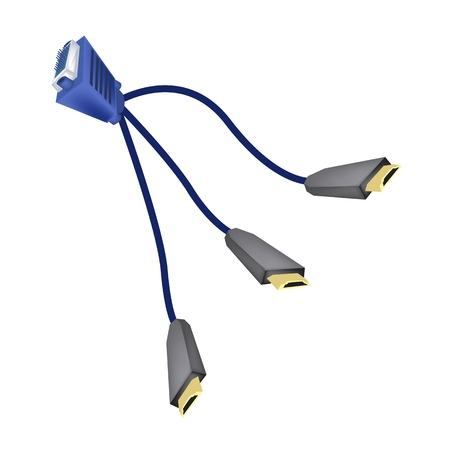 dvi: Computer and Technology, Illustration of VGA Monitor Cables or DVI Digital Video Interface to HDMI Cables  For Computer Connection.