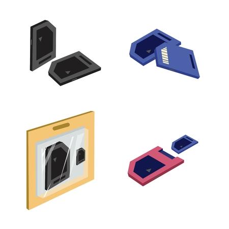 cf: Computer e Tecnologia, illustrazione Raccolta di SD Card, CF Card, Compact Flash Card e Micro SD Card, il mezzo pu� memorizzare qualsiasi tipo di dati digitali.