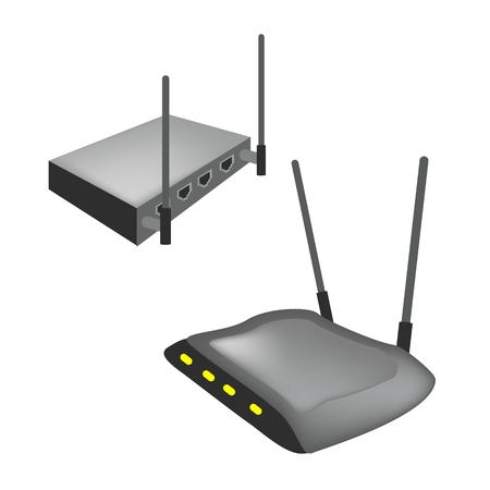 wireless communication: Communication and Mass Media, Illustration of Modern Wireless Internet Router with The Antenna Isolated on White Background.