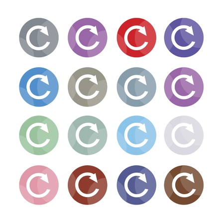 illustration collection: Flat Icons, Illustration Collection of 16 Reset Icons or Redo Symbols with Computer and Technology Concepts.