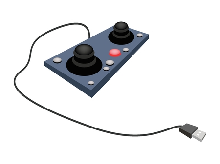 controlling: Computer and Technology, Illustration of Two Joystick or Control Column Used to Control Video Games or Controlling Machines. Illustration