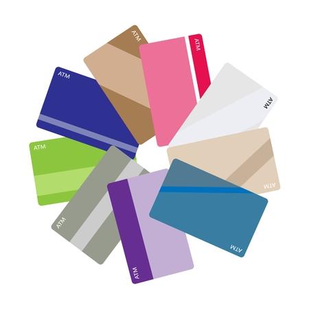 atm card: Bussiness y Financieros Conceptos, Pila de tarjeta de ATM y tarjetas de cr�dito aislado en un fondo blanco.