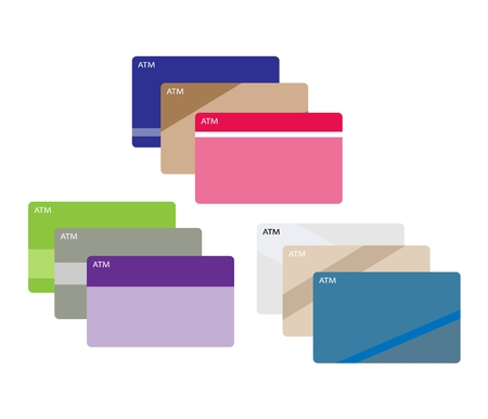 Bussiness and Financial Concepts, ATM Card and Credit Cards Isolated on A White Background. Illustration