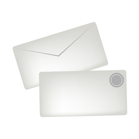 white greeting: Illustration of A White Greeting Cards or Gift Cards with Golden Badge, Copy Space for Text Decorated