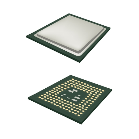computer cpu: Computer and  Technology, Illustration of Computer CPU Chip or CPU Processor Isolated on White Background. Illustration