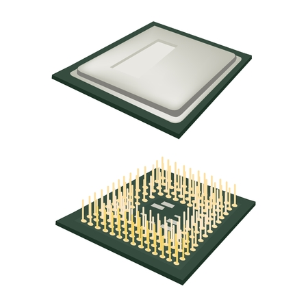 computer cpu: Computer and  Technology, Illustration of Two Computer CPU Chip or CPU Processor Isolated on White Background.