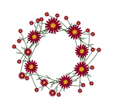 osteospermum: Symbol of Love, Illustration of Crown or Laurel Wreath of Fresh Red Daisy Flowers Isolated on White Background. Stock Photo