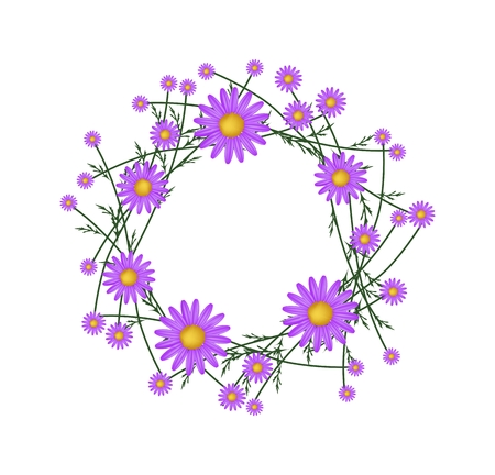 osteospermum: Symbol of Love, Illustration of Crown or Laurel Wreath of Fresh Purple Daisy Flowers Isolated on White Background. Stock Photo