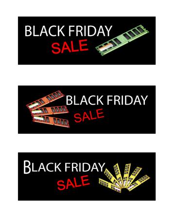 ram memory: Illustration of Random Access Memory or RAM on Black Friday Shopping Labels for Start Christmas Shopping Season. Illustration