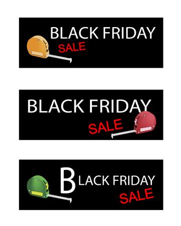boxing tape: Illustration of Tape Measure Device on Black Friday Shopping Labels for Start Christmas Shopping Season. Illustration