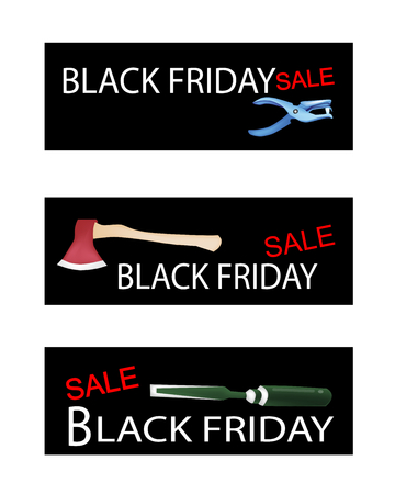 dross: Illustration of Carpenter and Craft Tools on Black Friday Shopping Labels for Start Christmas Shopping Season.