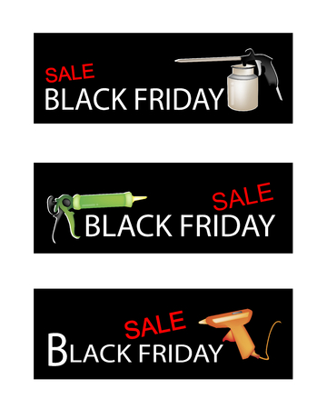 caulk: Illustration of Craft Tools on Black Friday Shopping Labels for Start Christmas Shopping Season.