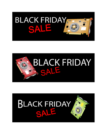 circuit sale: Illustration of Computer Graphic Card or Video Card on Black Friday Shopping Labels for Start Christmas Shopping Season.