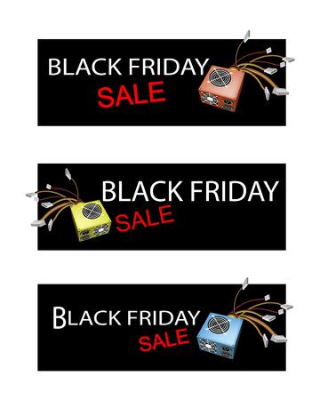 power supply: Illustration of Computer Power Supply Box on Black Friday Shopping Labels for Start Christmas Shopping Season. Illustration