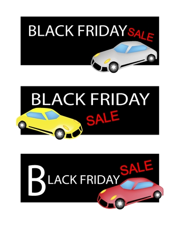 sell car: Illustration of Sports Cars on Black Friday Shopping Labels for Start Christmas Shopping Season.