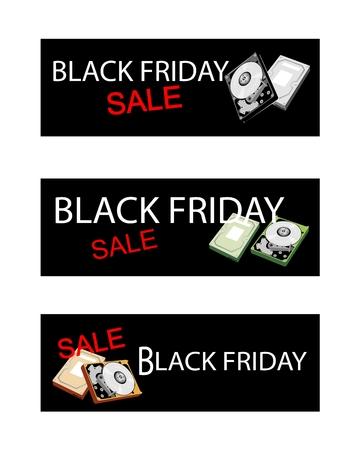 mass storage: Illustration of Computer Hard Disk Drive on Black Friday Shopping Labels for Start Christmas Shopping Season.