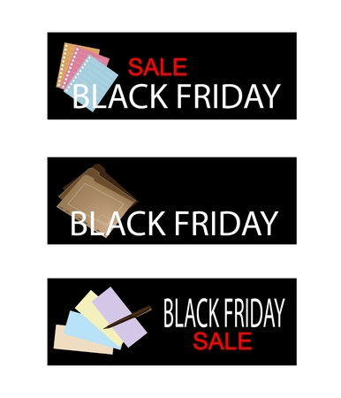 office supply: Illustration of Black Friday Shopping Labels with Office Supply, Sign for Start Christmas Shopping Season.