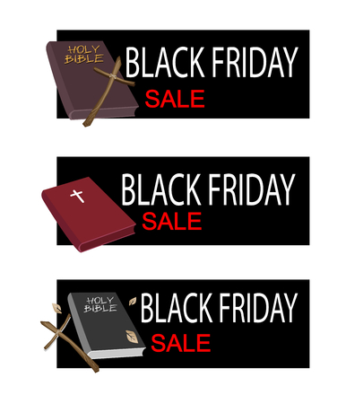 wooden cross: Illustration of Holy Bible with Wooden Cross on Black Friday Shopping Banner for Start Christmas Shopping Season.