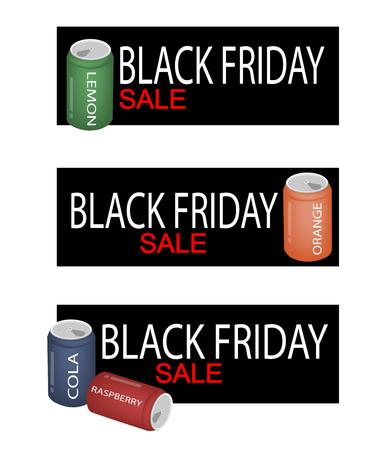 soft drink: Illustration of Soft Drink and Soda Drink on Black Friday Shopping Banner for Start Christmas Shopping Season.