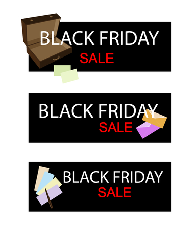 note pad and pen: Illustration of Black Friday Shopping Banner with Office Supply, Sign for Start Christmas Shopping Season.
