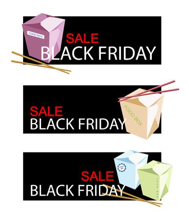 boxs: Illustration of Chinese Food Boxs on Black Friday Shopping Banner for Start Christmas Shopping Season. Illustration