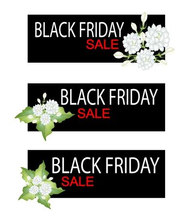 annonaceae: Illustration of Gardenias or Jasmine Flowers on Black Friday Shopping Banner for Start Christmas Shopping Season. Illustration