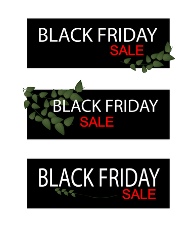 climbing fig: Illustration of Ficus Pumila or Creeper Plant on Black Friday Shopping Banner for Start Christmas Shopping Season.