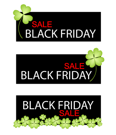cloverleafes: Illustration of Four Leaf Clover Plants or Shamrock on Black Friday Shopping Banner for Start Christmas Shopping Season. Illustration