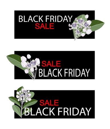 corona navidad: Ilustración de Calotropis Gigantea flores o flores de la corona en el Viernes Negro de compras de la bandera por Inicio de compras de Navidad temporada.
