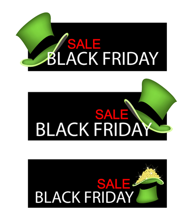 cloverleafes: Illustration of Golden Four Leaf Clovers or Shamrocks in Saint Patricks Hat on Black Friday Shopping Banner for Start Christmas Shopping Season. Stock Photo