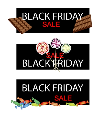 hard candy: Illustration of Delicious Chocolates, Lollipops and Hard Candy on Black Friday Shopping Banner for Start Christmas Shopping Season. Illustration