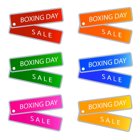 boxing day sale: Glossy Sticker in Blue, Red, Green and Orange Colors with Boxing Day Sale Wording, Sign for Start Christmas Shopping Season. Illustration