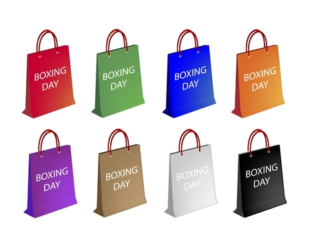 boxing day special: Boxing Day with Paper Shopping Bags, Sign for Start Christmas Shopping Season.