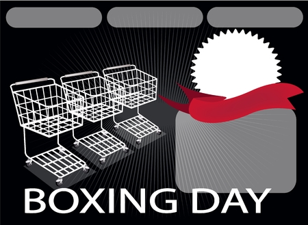 boxing day: Three Shopping Carts and A Round Label on Boxing Day Background with Copy Space and Text Decorated, Sign for Start Christmas Shopping Season. Illustration