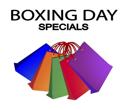 boxing day special: Boxing Day Special Label with Paper Shopping Bags, Sign for Start Christmas Shopping Season.