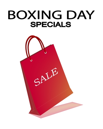 boxing day sale: Boxing Day Special Banner with A Red Paper Shopping Bag, Sign for Start Christmas Shopping Season. Illustration