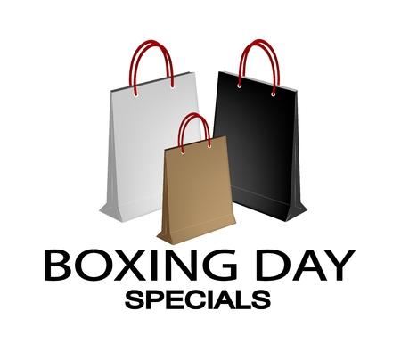 boxing day: Boxing Day Special Banner with Three Paper Shopping Bags, Sign for Start Christmas Shopping Season. Illustration