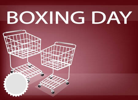 boxing day: Two Shopping Cart on Boxing Day Background with Copy Space and Text Decorated, Sign for Start Christmas Shopping Season.