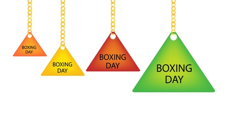 boxing day sale: Collection of Boxing Day Triangle Tag Holding on A Golden Chain in Four Assorted Colours, Orange, Yellow, Red and Green