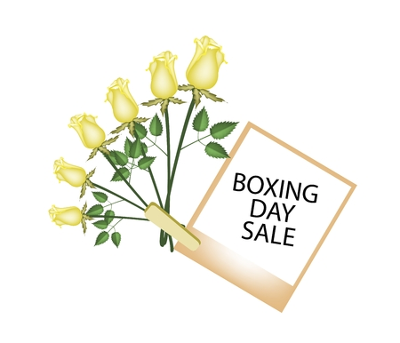 yellow roses: Boxing Day Shopping Banner Instant Photo Prints with Yellow Roses Clothespins, Sign for Start Christmas Shopping Season.
