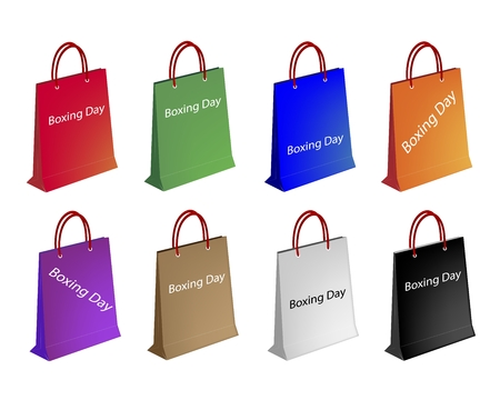 boxing day special: Boxing Day Label with Paper Shopping Bags, Sign for Start Christmas Shopping Season.
