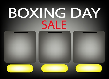 boxing day sale: Three Blank Banner on Boxing Day Sale Background for Copy Space and Text Decorated, Sign for Start Christmas Shopping Season.